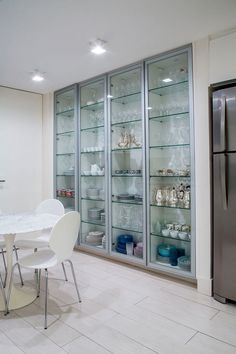 Find pantry shelving design only on this page Grey Kitchen Designs, Kitchen Pantry Design, Cupboard Design, Modern Kitchen Design, Home Decor Kitchen, Interior Design Kitchen, Kitchen Grey, Crockery Cabinet, Cabinet Decor