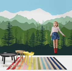"Ombre Mountain Scenery with Pine forest trees wallpaper. Can be made to match your desire color scheme. This wallpaper comes with adhesive ready, you can transform your wall instantly, easily. * Full Pattern as shown on picture need 5 rolls (5 Quantity) ----------------------- GET 20% OFF WHEN YOU ORDER 5 ROLLS AND ABOVE, just enter this COUPON CODE WHEN CHECKOUT ABWALL20OFF ----------------------- ITEM CODE AB008 SIZE each roll Size (approx) : 23""w x 96""h WHATS INCLUDED • 1 roll • I..."