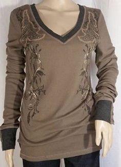 NWT Miss Me Olive Floral V-Neck Design Top Size L #MissMe #Blouse