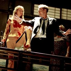 Uma Thurman and Quentin Tarantino during the filming of Kill Bill. Tarantino has the chamber of my heart devoted to movie-love. for real.