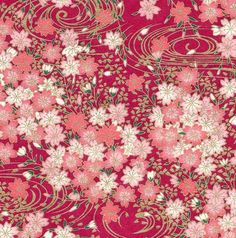 Chiyogami or yuzen paper - pretty clusters of pink cherry blossoms with gold swirls on magenta
