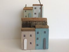 Driftwood Cottages, Driftwood Houses, Coastal Seaside Beach Ornament, White Blue Natural Wood, Nautical, Shabby Chic Unique Gift Driftwood Sculpture, Driftwood Art, Beach Ornaments, Seaside Beach, Natural Wood, Little Houses, Cottages, Unique Gifts, Coastal