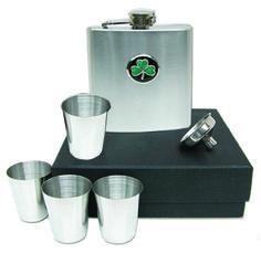 Flask Set with Irish Shamrock