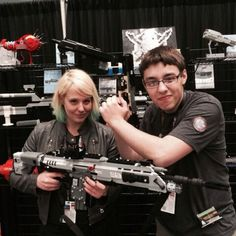 Abbie Heppee - Holding a Lego gun from Titanfall made by the guy next to her. Pretty cool!