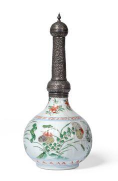 A Chinese Famille Verte Porcelain Bottle Vase, Qing Dynasty ...