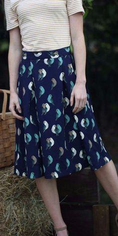 Navy Bird Print Skirt (Pre-order) – ModestPop.com