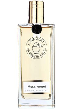 Musc Monoi Parfums de Nicolaï. Top notes are neroli, lemon and petitgrain; middle notes are ylang-ylang, jasmine, coconut, calone and magnolia; base notes are ylang-ylang, sandalwood and musk.