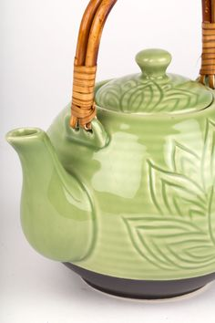 Green Lotus Teapot // Handmade + Fair Trade Tea Set // Green // Jade // Yoga // Mindful // Peace // Ethical