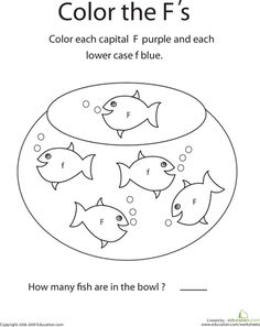 Worksheets: Color the Letter F