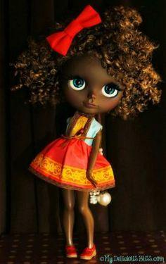 Etta, hermoso arte de la muñeca Blythe Brown personalizado por rosalind
