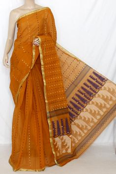 Mustared Handwoven Thousand Booti Bengal Tant Cotton Saree (Without Blouse) 13884