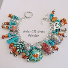 Schaef Designs sleeping beauty turquoise, spiny oyster shell & sterling silver charm Southwestern bracelet | New Mexico