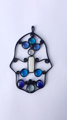 Hamsa Unique  Stained glass Blue Fusing Decor by Silvinadesigns Handmade Israel