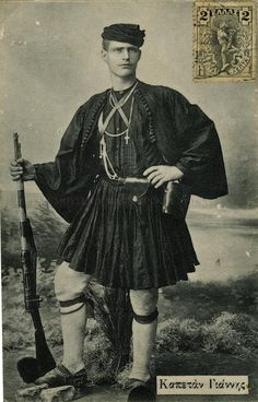 History of the Fustanella - Captain Yannis Ramnalis, Macedonian fighter for the liberation of Macedonia from Turkish occupation and for reunification with the rest of Greece Churchill, Greek Traditional Dress, Greek Independence, Kai, Macedonia Greece, Greece Pictures, Greek Men, Man Skirt, Greek History
