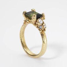 Ruth Tomlinson — Single Tourmaline Encrusted Ring 18ct yellow gold, tourmaline, pearls, white diamonds  20mm x 30mm  £1450