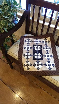 Primitive Cottage Table Runner Wall Hanging Spring Picnic 9 Patch In Brown and Blue. Sold On Etsy by MapleCottageDesigns
