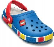 Crocband Kids LEGO Mammoth Croc lined in snuggly fleece! Sea Blue / Red - £29.95