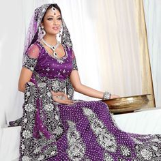Purple Net Lehenga Choli with Dupatta