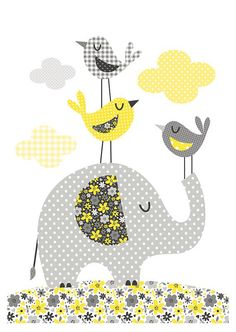 Elephant and birds. Bubble Gum Years - ETSY