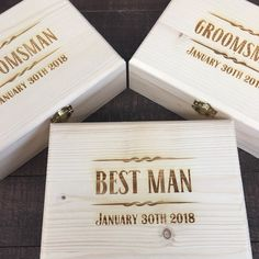 Our personalized wood gift boxes are the perfect start for a groomsmen gift box set.  Add a flask or pocket knife or both!