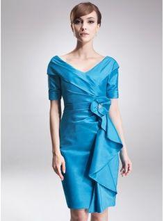 Sheath/Column Off-the-Shoulder Knee-Length Taffeta Mother of the Bride Dress With Beading Cascading Ruffles