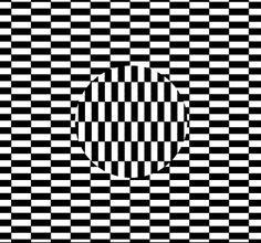 Se mueve, está vivo. Dentro del cuadrado hay un circulo. Pero hay algo mas. Parece que el circulo tiene vida propia, que no se encuentra a gusto dentro del cuadrado. Mueve la cabeza ligeramente a los lados y el efecto aun será mas obvio.