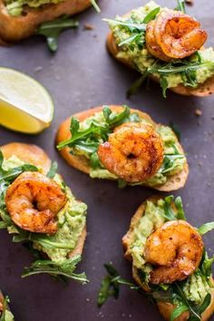Garlic shrimp and avocado crostini are a fresh and delicious bite-size appetizer that will be a hit at any gathering or party! day dinner recipes meals Garlic Shrimp and Avocado Crostini Shrimp Appetizers, Appetizer Recipes, Recipes Dinner, Dinner Party Appetizers, Easy Bite Size Appetizers, Shrimp Bruschetta, Party Canapes, Shower Appetizers, Canapes Recipes