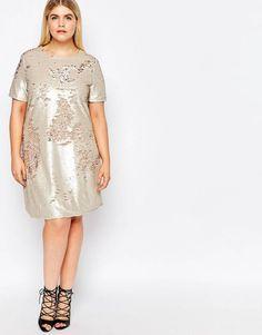 Club L Plus Cap Sleeve Two Tone Sequin Shift Dress