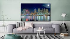 """This is an original photo called """"Brisbane In Moonlight"""" and you can find it at Cityscapes, Brisbane, Moonlight, Canvas Art, Tapestry, Wall Art, The Originals, Home Decor, Hanging Tapestry"""
