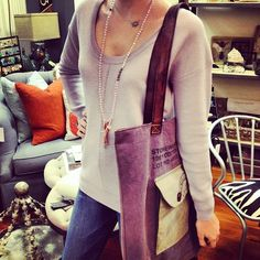 sweater weather | @Trina Turk @Chan Luu  #brr #coldfront #denim #sweater #knit #tote #shoplocal #shopjuxtapose #Padgram