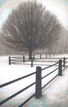 Mystic Stitch Inc SOLITUDE Bare Tree & Fence by ThePamperedStitcher on Etsy -- cross stitch pattern