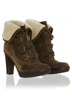 Ralph Lauren Shearling Lined Suede Ankle Boots on shopstyle.co.uk