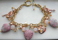 Heart Charm Bracelet  Love Bracelet  Rose Gold Bracelet Key and Heart Bracelet Valentines Bracelet