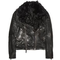 Karl Oslo leather and shearling biker jacket ($1,330) ❤ liked on Polyvore
