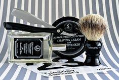 Taylor of Old Bond Street Jermyn Street shave cream and aftershave, Truefitt and Hill badger brush, Kai folding shavette razor, January 23, 2018.  ©Sarimento1