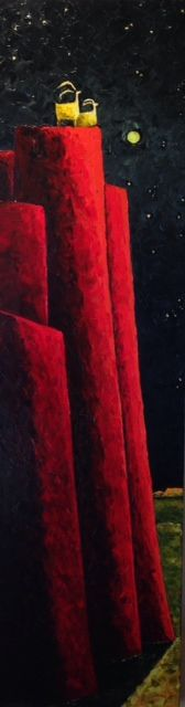 """Jill Shwaiko, Together With the Stars, Original Oil on Canvas, 58"""" x 16"""""""