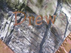 Monogrammed Camo Baby Blanket.
