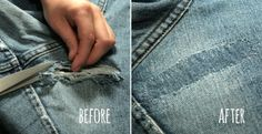 How to Fix Holes in Jeans and Other Garments ~ tutorial Sewing Hacks, Sewing Tutorials, Sewing Crafts, Sewing Tips, Sewing Projects, Sewing Ideas, Fix Clothing, Clothing Hacks, Clothing Ideas
