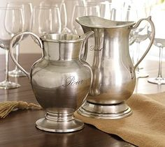 Antique-Silver Pitchers #potterybarn - Love the antique silver collection! I have almost every piece to go with the country french look of our home.