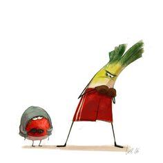 tomato vs leek, todays warm up.   Wiebke Rauers Illustration