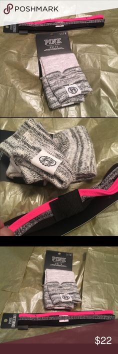 "VS PINK Headband & VS PINK Crew Socks 💝 Victoria's Secret PINK Headband brand new in package. And, VS PINK Crew Socks New without tags.  See pictures. No trades. No holds. All offers (lowest ?'s) via make ""offer"" button only please (reasonable offers). Thanks for looking and Happy Poshing! I want to sell all of this together. PINK Victoria's Secret Accessories Hosiery & Socks"