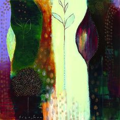 """""""Forest Falls"""" by Flora Bowley, 2009 Forest Falls, Flora Bowley, Colorful Artwork, Abstract Nature, Color Theory, Illustration Art, Illustrations, Creative Inspiration, Mixed Media Art"""