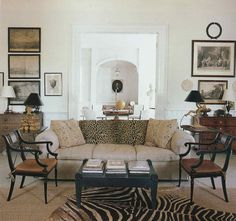 Room of the Day ~ exquisite furniture, black and white lampshades, art, coffee table ~ The Hudson, New York, living room of Frank Faulkner.