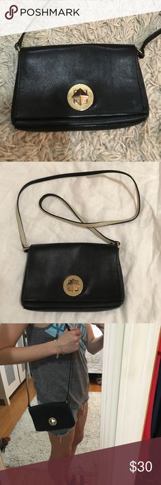 """Kate Spade Black Crossbody with Turn-Lock kate spade new york brightspot avenue sally crossbody bag, black. Some tarnish on the hardware of the bag, but otherwise good condition. Soft, smooth leather with golden hardware. Colorfully pre-boxed. Crossbody strap; 21 1/4"""" drop. Front flap turn-lock close. Interior, logo lining with affirmations; slip pocket. 5""""H x 8""""W x 1""""D.; weighs 10oz. kate spade Bags Crossbody Bags"""