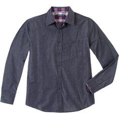 Weekend. Modelo: G815D0501283FAI. Camisa tipo chambray, de manga larga, con pespuntes en el cuello y puños, una bolsa con botón.