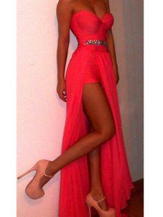 Amazing Bright Coral Sheath/Column Sweetheart Neckline Floor Length Split Prom Dress