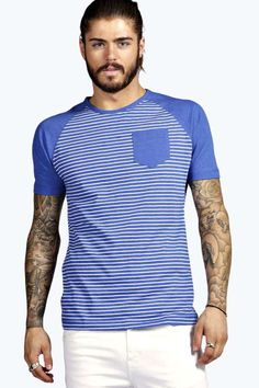 Raglan Sleeve Striped Pocket T Shirt
