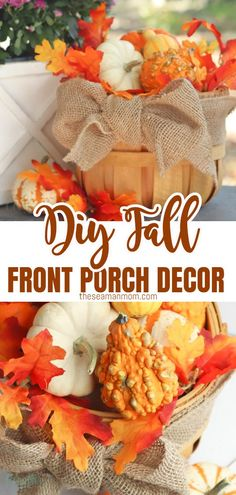 This fall, make the most out of your extra outdoor area with this adorable fall front porch decor! Made with bushel basket, this fall porch decor takes minutes to make but looks stunning and impressive!  #easypeasycreativeideas #fall #falldecor #pumpkindecor #homedecor #diydecor