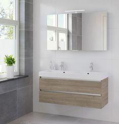 Bruynzeel Palitano meubelset 120cm.met spiegelkast dubb.wastafel wit tortona - 225891k - Sanitairwinkel.nl