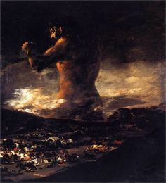 The Colossus - Francisco De Goya, oil on canvas, Museo del Prado. Depicts an aggressive giant over a town as people are fleeing from it. This could represent the Spanish people rising up like the giant to repel Napoleon's invasions. Francisco Goya, Spanish Painters, Spanish Artists, Arte Latina, Foto Art, Old Master, Art Reproductions, Dark Art, Great Artists